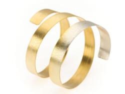 Brazalete Espiral. Bicolor dorado y plata
