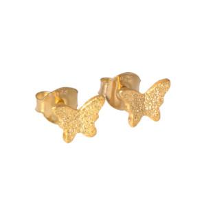 Pendientes Mariposa en Plata Dorados. Pequeño